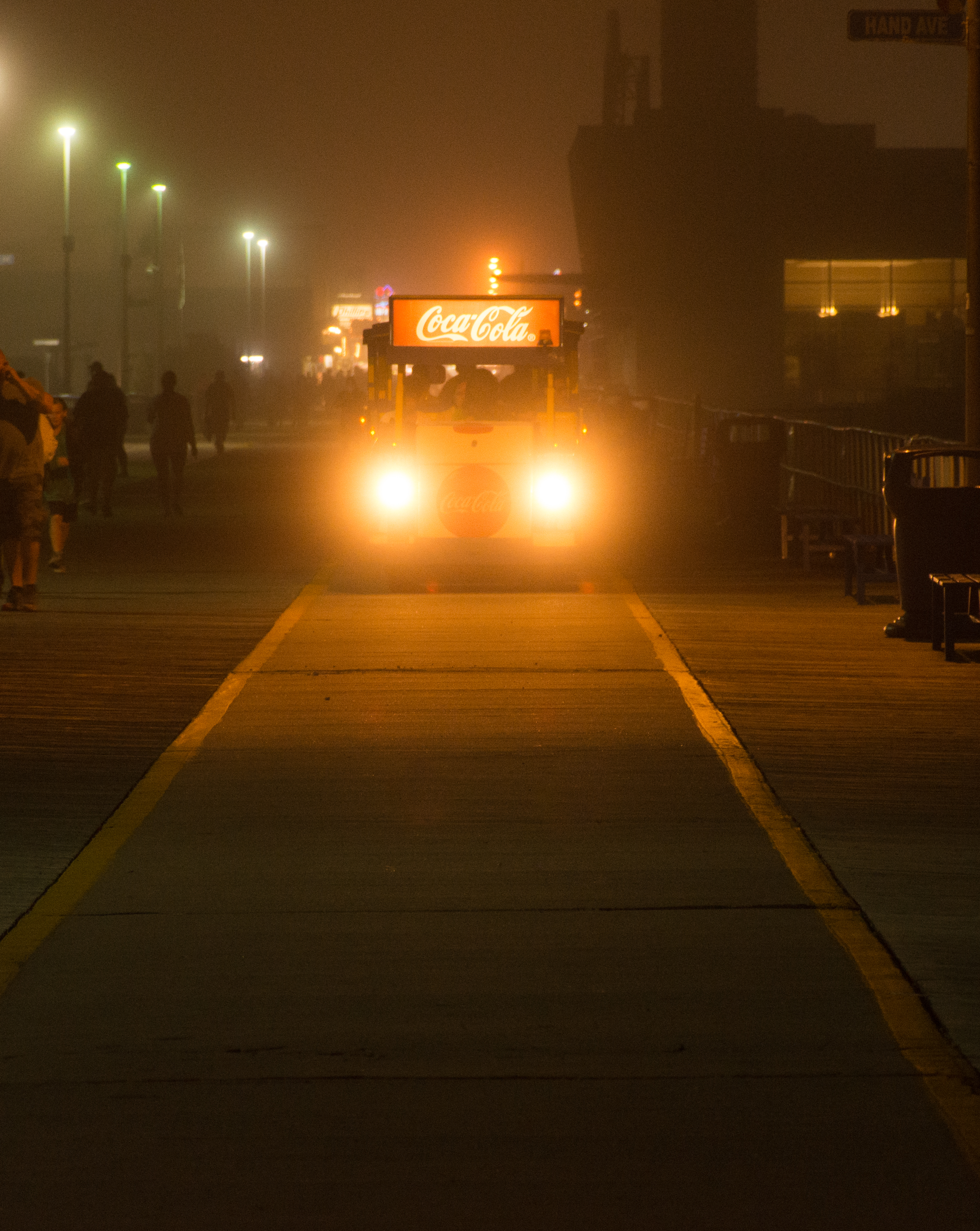 Tram Car coming up the Boardwalk in Wildwood on a foggy evening.